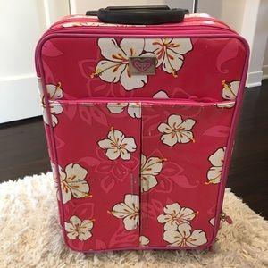 Roxy pink &white carryon luggage on wheels